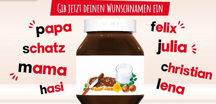 Nutella Etikett individuell gestalten