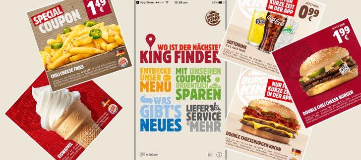 Burger King app mit verschiedenen Gutscheinen als Vorlage